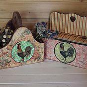 """Для дома и интерьера ручной работы. Ярмарка Мастеров - ручная работа Короба  """"Петухи """". Handmade."""