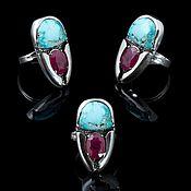 Украшения handmade. Livemaster - original item Scarab ring with ruby and turquoise. Handmade.