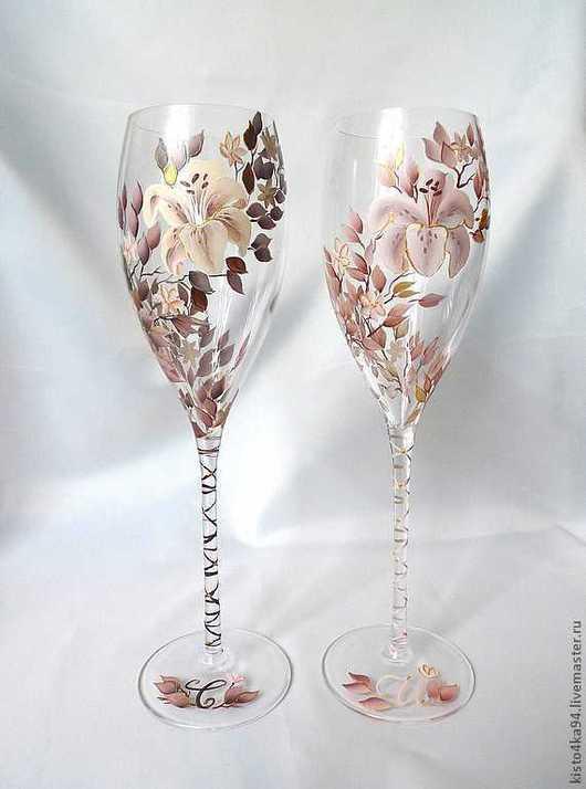 Свадебные бокалы фужеры на свадьбу с росписью для молодоженов подарок на юбилей бежевая свадьба бокалы для шампанского фужеры для вина с росписью цветы лилии