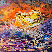 Картины и панно handmade. Livemaster - original item Oil painting with sea, sunset