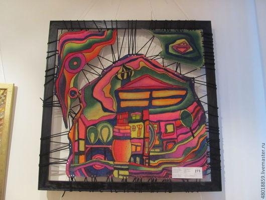Абстракция ручной работы. Ярмарка Мастеров - ручная работа. Купить Панно из войлока Город-мечта. Handmade. Батик панно, абстракция