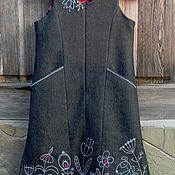 Работы для детей, handmade. Livemaster - original item Warm dress for girls with hand embroidery. Handmade.