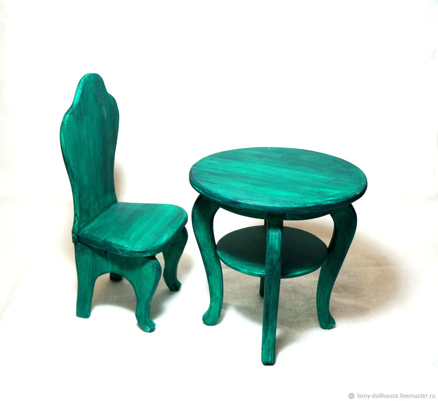 Set table with chair painted 'Sea wave' malachite, emerald, Doll furniture, Moscow,  Фото №1