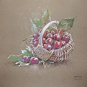Картины и панно ручной работы. Ярмарка Мастеров - ручная работа картина пастелью Вишня (пепельный, бордо, натюрморт для кухни). Handmade.