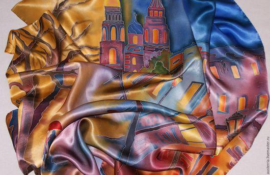 """Шали, палантины ручной работы. Ярмарка Мастеров - ручная работа. Купить Платок батик шелковый """"Санкт-Петербург"""". Handmade."""