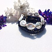 Украшения handmade. Livemaster - original item Peacock grace bracelet in Baroque pearls and lapis lazuli. Handmade.