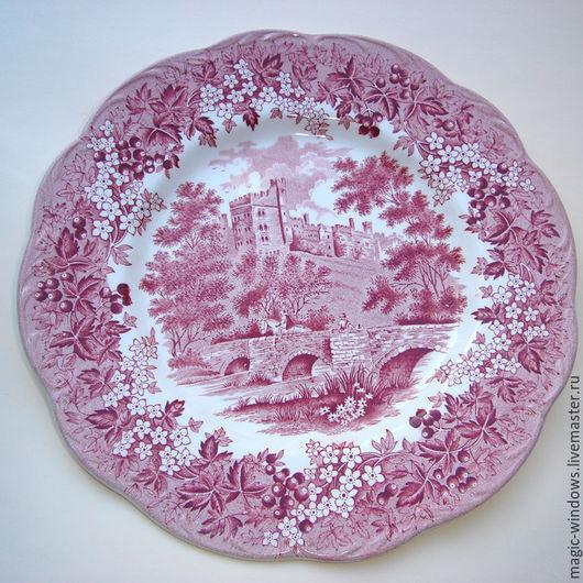 """Винтажная посуда. Ярмарка Мастеров - ручная работа. Купить Винтажная тарелка """"Haddon Hall"""" - Англия. Handmade. Бордовый, тарелка в подарок"""