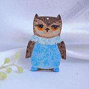 Украшения handmade. Livemaster - original item Wooden Owl kitty brooch based on Inga Palzer`s owls. Handmade.