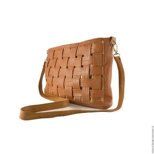 Женские сумки ручной работы. Ярмарка Мастеров - ручная работа. Купить Стильная сумка-клатч из натуральной коричневой кожи. Handmade.