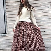 Одежда handmade. Livemaster - original item Chocolate cotton skirt polka dot. Handmade.