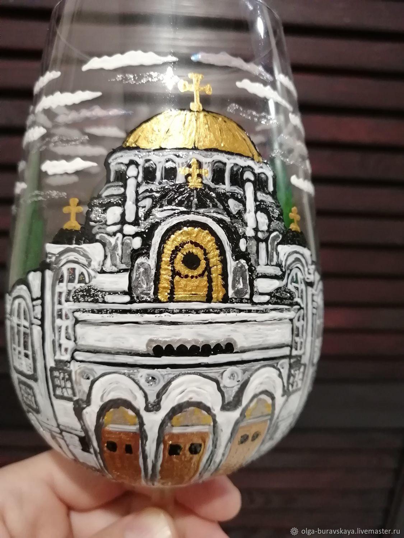 """Бокалы для вина с росписью """"Грузия"""", Бокалы, Москва,  Фото №1"""