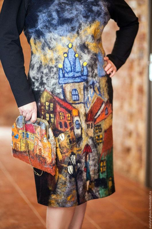 Большие размеры ручной работы. Ярмарка Мастеров - ручная работа. Купить Прага платье валяное, трикотажное. Handmade. Платье, городок