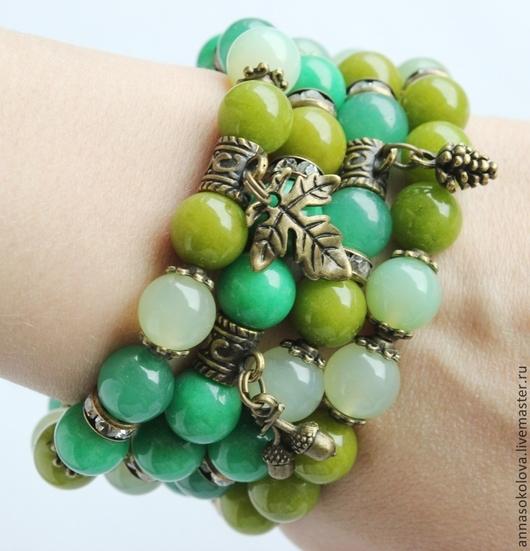 """Браслеты ручной работы. Ярмарка Мастеров - ручная работа. Купить Комплект браслетов """"Свежая зелень"""". Handmade. Зеленый, браслет из оникса"""