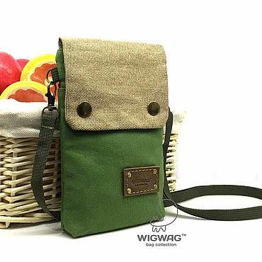 Сумки и аксессуары ручной работы. Ярмарка Мастеров - ручная работа Небольшая сумка зеленого цвета из канваса и кожи. Handmade.