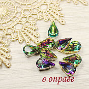 Материалы для творчества handmade. Livemaster - original item Rhinestones teardrop 13h8 mm rainbow in gold and silver bows flatback. Handmade.