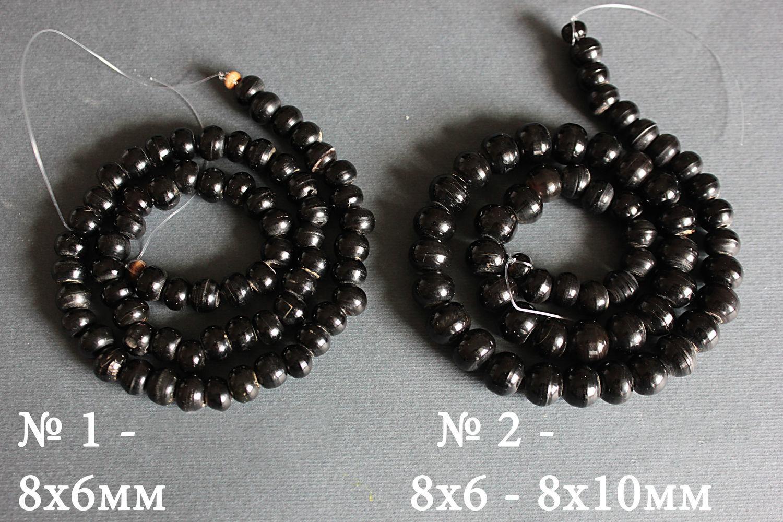 Thread black Buffalo horn 40 cm 8h6mm, Beads1, Bryansk,  Фото №1