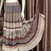 Одежда ручной работы. Ярмарка Мастеров - ручная работа Нежная кремово-лавандовая юбочка длинная,многоярусная.в стиле прованс-. Handmade.
