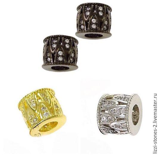 Бусина бочонок зиг заг золото, серебро и чернение (Milano) Евгения (Lizzi-stones-2)