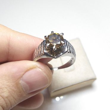 Decorations handmade. Livemaster - original item Ring with natural diamond buy. Handmade.