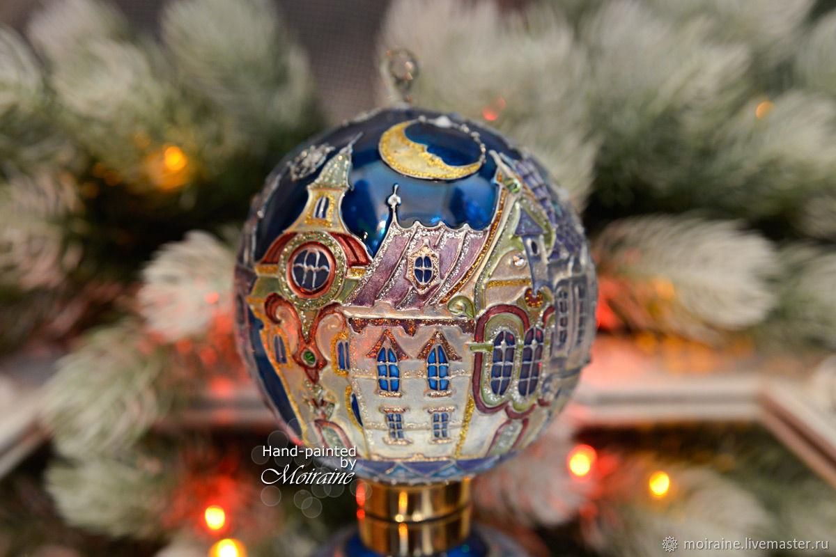 "Glass Christmas Ornament ""Moonlight Town"", Christmas decorations, Astrakhan,  Фото №1"