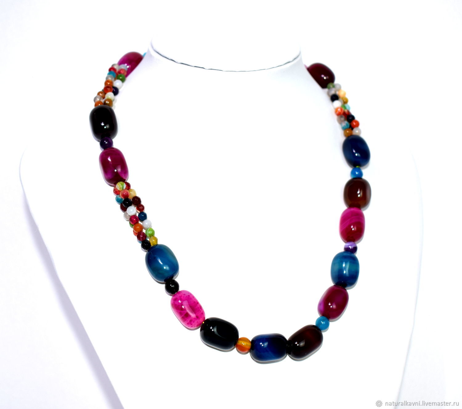 Multi-colored necklace made of natural agate, Necklace, Moscow,  Фото №1