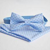 Аксессуары handmade. Livemaster - original item Blue tie butterfly pattern Noble blue pocket square. Handmade.