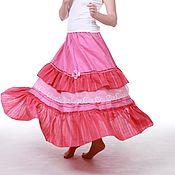 Одежда ручной работы. Ярмарка Мастеров - ручная работа Льняная юбка в пол цвета фуксии. Handmade.