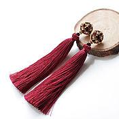 Украшения ручной работы. Ярмарка Мастеров - ручная работа Серьги кисти цвета марсала. Handmade.