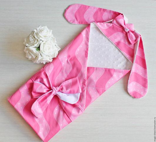Для новорожденных, ручной работы. Ярмарка Мастеров - ручная работа. Купить Плед на выписку летний. Handmade. Конверт, плед, розовый