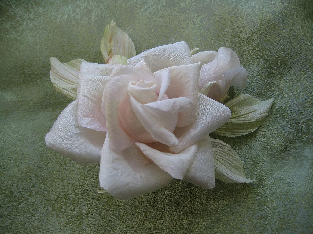 Silk Flowers Brooch Pin Rose Tomoko Indian Mulberry Silk Shop