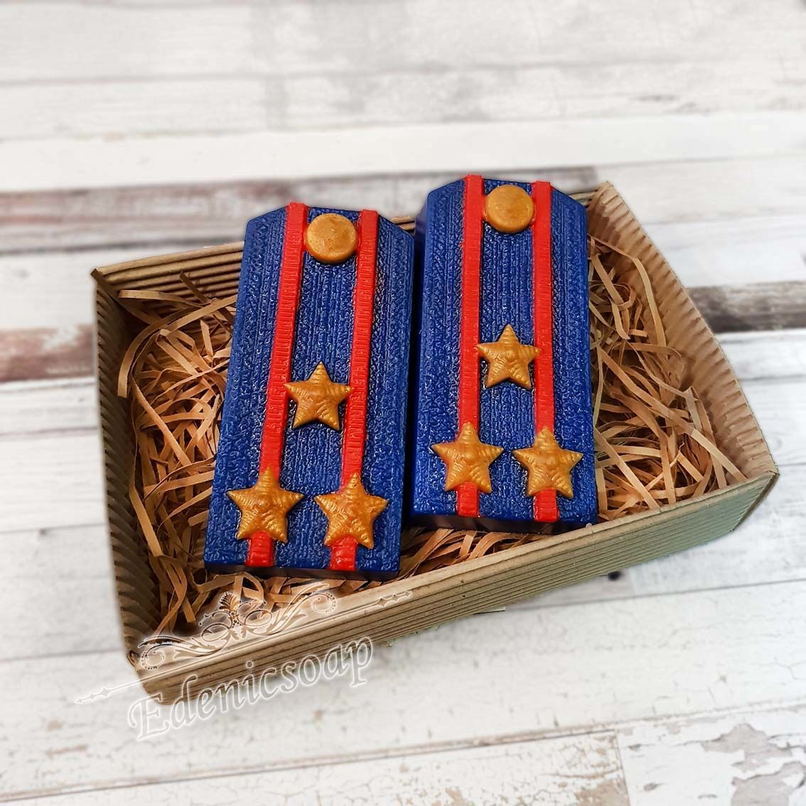 'Shoulder straps ' set soap gift army star military blue, Soap, Moscow,  Фото №1