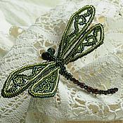 "Украшения handmade. Livemaster - original item Brooch ""Green dragonfly "". Barrette beaded. Blue dragonfly. Handmade."