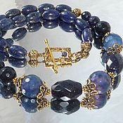 Украшения handmade. Livemaster - original item Beads with agate and lapis lazuli. Handmade.