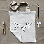 Сумки и аксессуары handmade. Livemaster - original item Shoppers: eco bag with author`s bird print. Handmade.