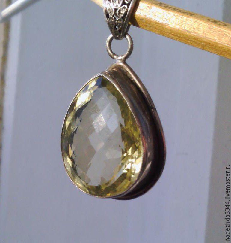 Silver pendant with large citrine shop online on livemaster with order silver pendant with large citrine nadinvintazh nadezhda3344 aloadofball Choice Image