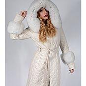 Одежда handmade. Livemaster - original item Womens leather coat fur hooded Fox winter. Handmade.