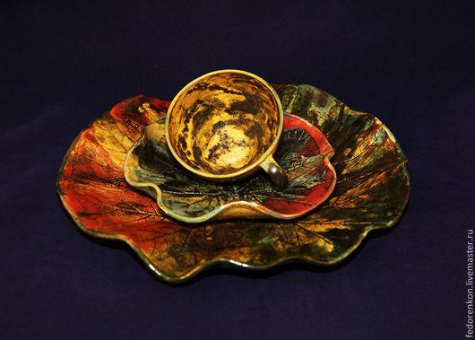 Сервизы, чайные пары ручной работы. Ярмарка Мастеров - ручная работа. Купить Чашка и блюдце Осенняя пара. Керамика. Handmade.