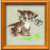 """Схемы для вышивки ручной работы. Ярмарка Мастеров - ручная работа Набор для вышивания Риолис """"Котенок с бабочкой"""". Handmade."""