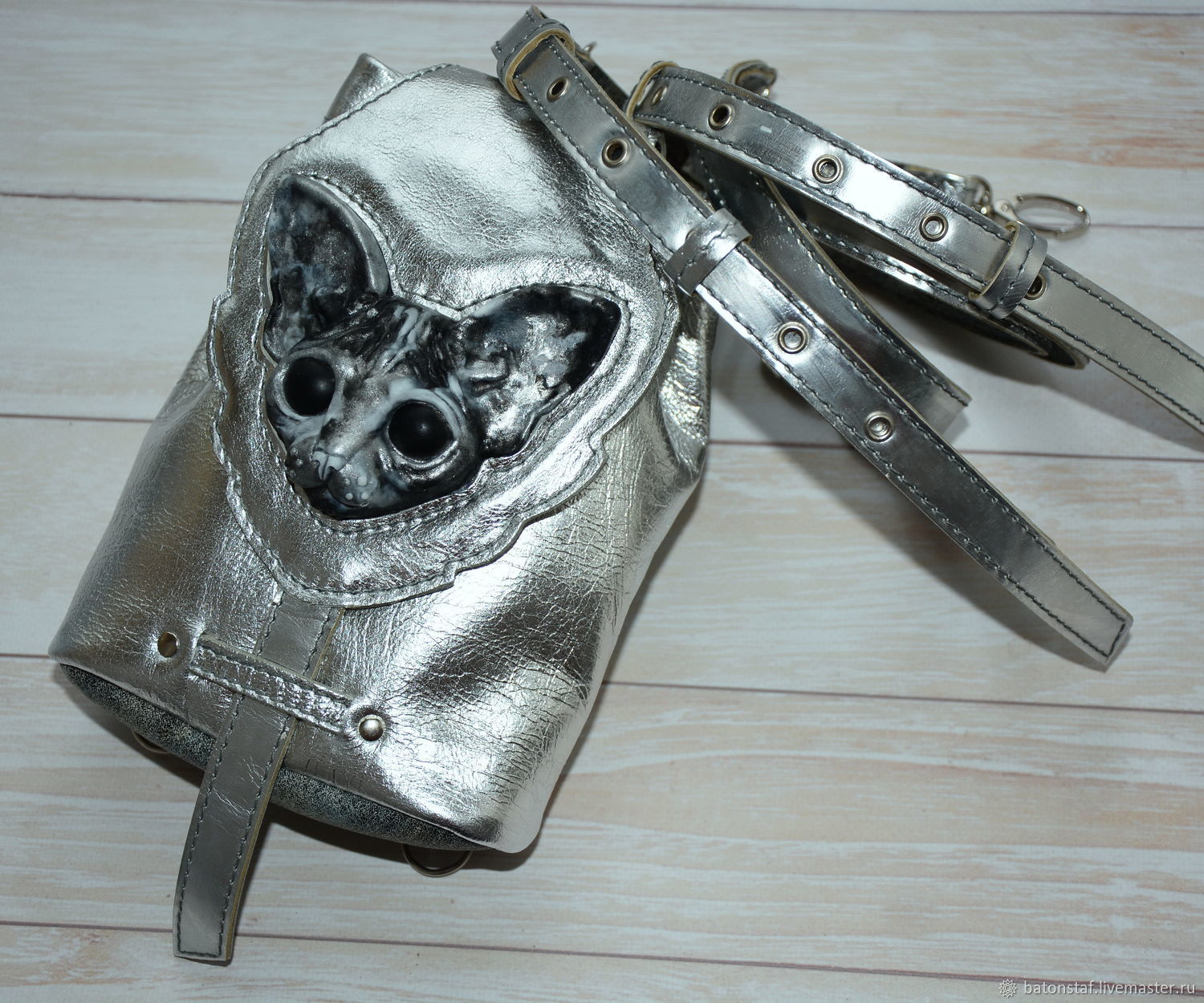 Small leather backpack-Silver-Sphinx cat, Backpacks, Moscow,  Фото №1