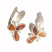 Украшения handmade. Livemaster - original item Flowers earrings amber natural stone cupronickel silver plating. Handmade.
