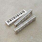 Материалы для творчества handmade. Livemaster - original item The separator 5 threads with zircons 26h3 mm platinum (Ref. 3134). Handmade.