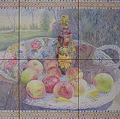 Картины ручной работы. Ярмарка Мастеров - ручная работа Натюрморт с яблоками и павлопасадским платком. Handmade.
