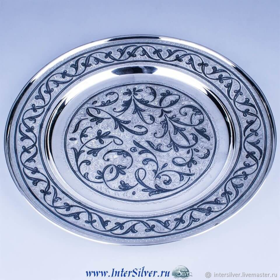 Тарелки ручной работы. Ярмарка Мастеров - ручная работа. Купить Большая серебряная тарелка. Handmade. Серебро, серебро
