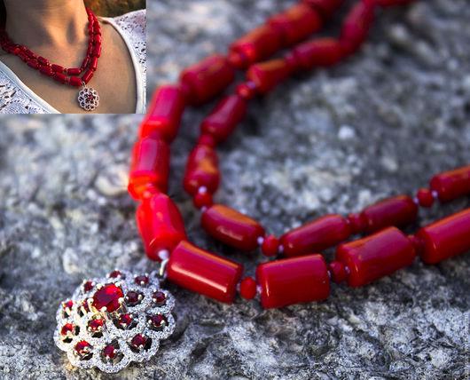 Колье, бусы ручной работы. Ярмарка Мастеров - ручная работа. Купить Серебро и кораллы натуральные колье коралловые бусы красные. Handmade.
