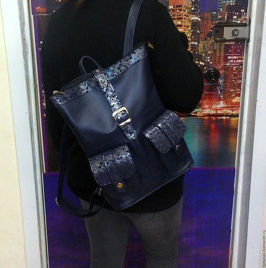 Рюкзаки ручной работы. Ярмарка Мастеров - ручная работа. Купить Рюкзак кожаный 87. Handmade. Тёмно-синий, рюкзак городской