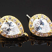 Пуссеты гвоздики с цирконами Gold Plated Южная Корея