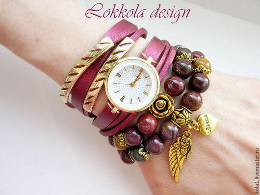 """Браслеты ручной работы. Ярмарка Мастеров - ручная работа. Купить Часы-браслеты """"Роза"""". Handmade. Бордовый, часы наручные, браслет"""