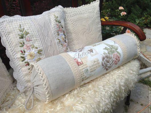 Текстиль, ковры ручной работы. Ярмарка Мастеров - ручная работа. Купить Подушка валик в стиле прованс. Handmade. Комбинированный, подарок