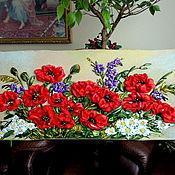 Картины и панно ручной работы. Ярмарка Мастеров - ручная работа Вышитая картина лентами Маки 120 на 50. Handmade.