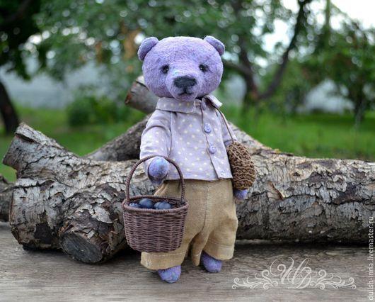 любитель черники, мишка сиреневый, мишка тедди коллекционный, мишка в подарок, ручная работа, мишка купить, интерьерная игрушка